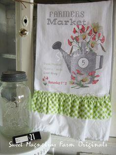 "Flour Sack Towel ...""Farmers Market"" by SweetMagnoliasFarm ... 18.00"