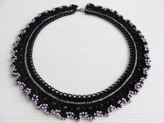 Black pink crochet collar choker chain necklace by LadyLina