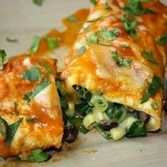 Black Bean Spinach Enchiladas; So Healthy And Delicious!