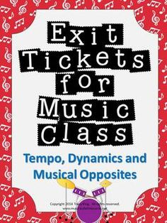 Exit Tickets Formative Assessments for Music Class-TEMPO,