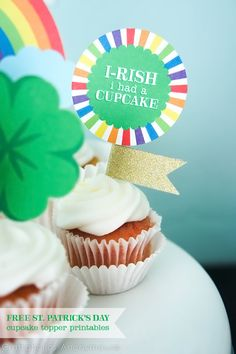 cupcak topper, topper printabl, rainbow cupcakes, stpatrick, cupcake toppers