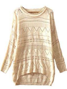 Biege Long Sleeve Geometric Eyelet Embellished Knit Jumper Sweater
