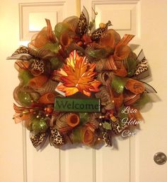 """Fall Burlap Deco Mesh Wreath with maple leaf """"Welcome"""" sign"""