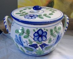 Vintage made in portugal pottery serving dish with lid