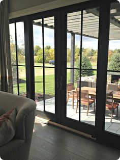 black sliding glass
