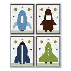 $16.40 Space Rockets Set of 4 Posters in One! by Personalizedbydiane 8 x 10