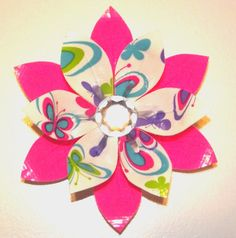 Pink and Butterfly Print Duct Tape Flower Clip by Huffleblossoms, $6.00