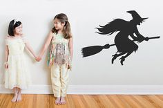 Witch on a Broom Halloween Themed Wall Decal