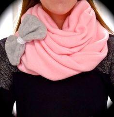 bow scarf, fashion, infinity scarfs, bow pink, grey