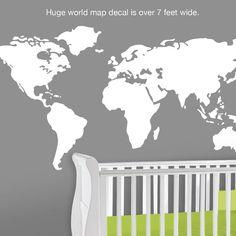 Baby Nursery Wall Decal  Large World Map Nursery Wall by Lulukuku, $52.00