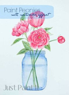 How to Paint Peonies with a watercolor effect using craft paints and watercolor pencils. Step by step photos included.