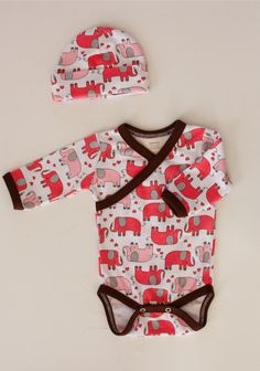 Kimono Style Onesie w/ pink elephants!!