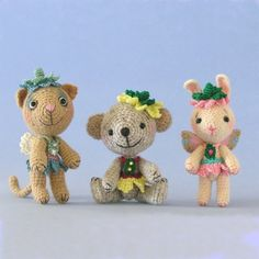 Miniature crocheted bears and animals by one of the most talented crochet artists, Sue Pendleton of Bluebeary Treasures!