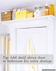 Possibility for extra storage in the kids' bathroom.  Could put all the 'overstock' toothpastes, toothbrushes, shampoos, baby items, in cute baskets over the door.  Then their would be room in the tiny linen closet for linens.