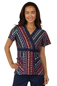 """Peaches Uniforms Kate Top in """"Angular Appeal"""" 4621-ANGA Kate Print Top #4621  100% Cotton  Crossover top with solid contrast at neck and waist  Contrast topstitching at neck  Adjustable fron ttie for added fit  Roomy patch pockets  Length 26 1/2""""  XS-3X $22.50 #scrubs #scrubcouture #nurses"""