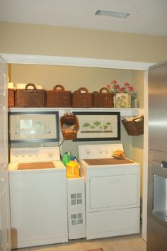 For a small laundry area-so cute and organized!  Need to do the side baskets.