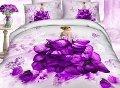 Rose and Diamond Dress Print 100% Cotton 3D Duvet Cover Sets #purplebedding #3dbedding #4pieces Live a better life, start with @beddinginn