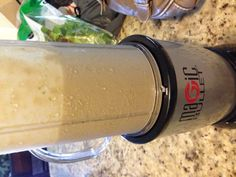 Ice, unsweetened vanilla almond milk, spinach, chocolate protein