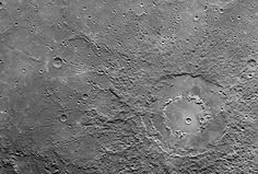 Double Ring Crater imaged by MESSENGER's Narrow Angle Camera (NAC) on the Mercury Dual Imaging System (MDIS) during the spacecraft's flyby of Mercury on 14 January 2008. Credit: NASA/Johns Hopkins University Applied Physics Laboratory/Carnegie Institution of Washington
