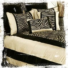 Go for the sophisticated safari look with a black and white zebra comforter set. #AnnasLinens #AnimalPrint