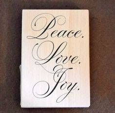 Rubber Stamp Peace Love Joy.  Christmas Stamp by KMSORIGINAL, $9.00