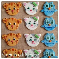 Daniel Tiger, Katrina Kitty, and O the Owl inspired cupcake Fondant toppers cupcakes fondant toppers, daniel tiger cookies, owl cupcakes, 3rd birthday, tiger cupcakes, foxes, parti idea, circus parti, cupcak fondant