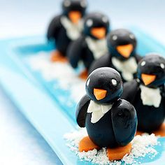 Disguise heart healthy olives as penguins shuffling through the snow -- your kids will gobble them up! http://www.parents.com/recipes/cooking/kid-friendly-food/play-with-your-food/?socsrc=pmmpin130103wwfOlivePenguin#page=7