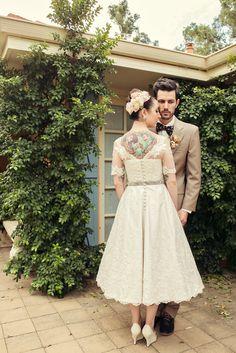Elvi Design Tea-Length Wedding Gown Back Shot