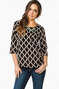 Kenilworth Blouse in Black and Taupe