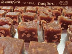 Sugar free snickers  Combine with this recipe to make an actual candy bar  with nougat http://www.oatmealwithafork.com/2013/09/30/healthy-fun-size-snickers-bars-vegan-grain-free/