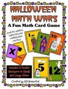 Halloween Math Wars Card Game (+, -, and x) $