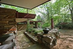 """The outdoor area of """"Laurel"""". FRANK LLOYD WRIGHT #architecture #FLW #midcentury"""