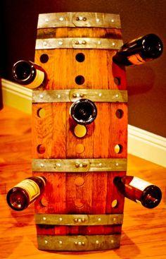 Wine barrel wine holder