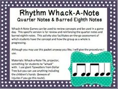 Rhythm Whack-A-Note: Quarter Notes and Barred Eighth Notes
