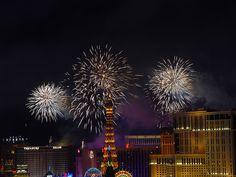 2013; Fireworks over the Las Vegas strip.