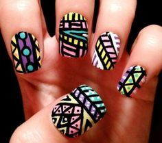 A Different Type Tribal Nail Art Design  | See more at http://www.nailsss.com/colorful-nail-designs/3/