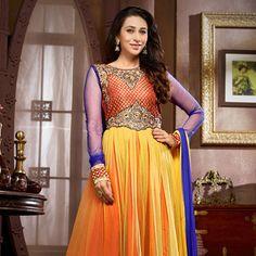 Yellow and Red Net Anarkali Churidar Kameez