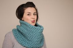 Chunky Crochet Cowl Snood in Mint Green. $50.00, via Etsy.
