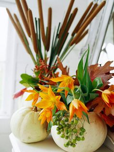 Carve out white pumpkins to create a festive flower pot. More fall decor:  http://www.bhg.com/thanksgiving/indoor-decorating/thanksgiving-decorating-with-nature/#page=24