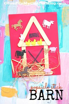 Popsicle Stick Barn - simply glue popsicle sticks to a red cardstock piece and add embellishments to make your farm come to life!!!  Find more simple kid craft ideas on Glued To My Crafts!
