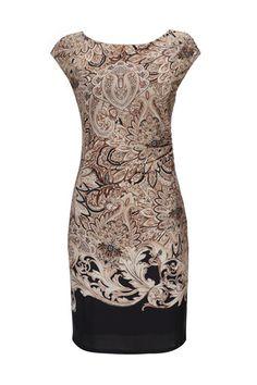 Taupe Paisley Print Dress