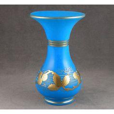 Blue opaline antique glass vase