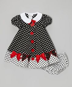 Take a look at this Black & White Polka Dot Bow Dress & Diaper Cover - Toddler by Gerson & Gerson on #zulily today!