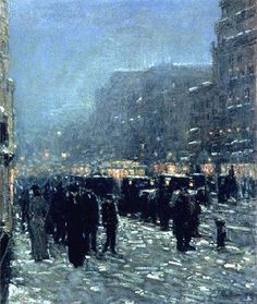 """""""Broadway and 42nd Street"""" Childe  Hassam.  Hassam tended to paint urban scenes, but most of the American impressionists painted rural and pastoral places."""