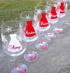 5 Bridesmaid wine glasses, Snowflake glasses, Bridesmaids gifts,  Winter wedding, red and white with name over dress