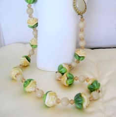Vintage Green White Molded Glass Flower by VintagObsessions, $32.00