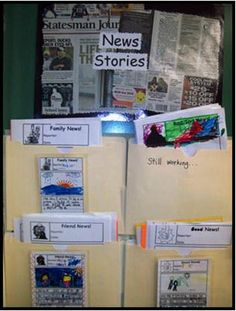 """News Stories: An engaging way to inspire narrative and opinion writing.  Use wall space to organize news story templates. From """"Kindergarten Writing and the Common Core"""" by Nellie Edge, Chapter 5."""