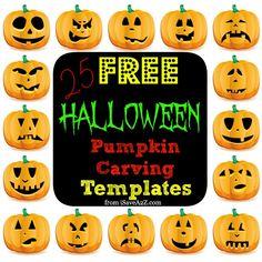 25 (Easy) Free Halloween Pumpkin Carving Templates - iSaveA2Z.com