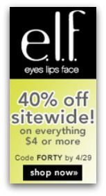 e.l.f. Cosmetics Coupon Code – 40% off *HOT* We have a great coupon code for e.l.f. Cosmetics for you today that will score you40% off all items over $4 with a minimum purchase of $25 or more! ...