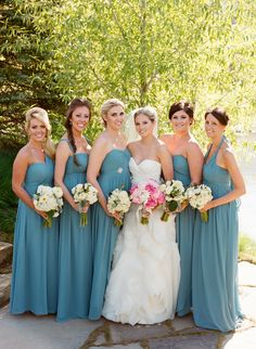 Jenny Yoo Aidan Dress in Turkish Blue Pretty Color - Bridesmaids Dresses on http://www.StyleMePretty.com/northwest-weddings/2014/03/24/jackson-hole-wedding-at-shooting-star/ CarriePattersonPhotography.com on #SMP long dresses, color blue, bride dresses, blue bridesmaid dresses, color photography